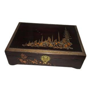 Carved Wood Orientalist Jewelry Box