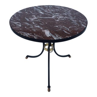 Marble, Iron & Bronze Gueridon Side Table
