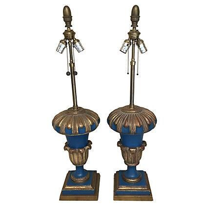 Image of Mid-Century Blue & Gold Lamps - A Pair