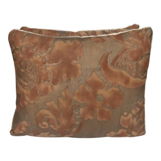 Transitional Apricot & Gold Fortuny Pillows - A Pair