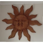 Image of Large Handcarved Wood Sun Wall Art