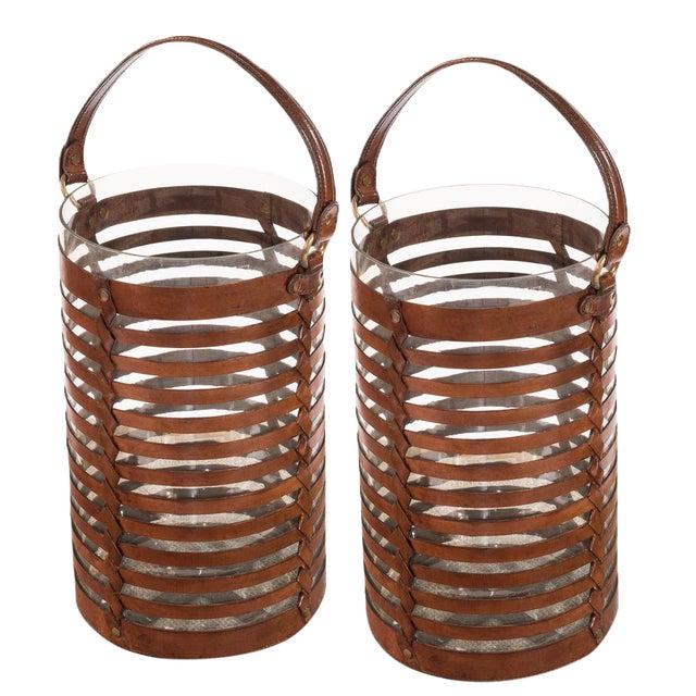 Sarreid Ltd. Leather Hurricane Baskets - A Pair - Image 1 of 4