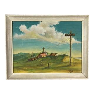 Vintage Rural Landscape Painting