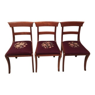 Vintage Needlepoint Burgundy Dining Chairs - Set of 3
