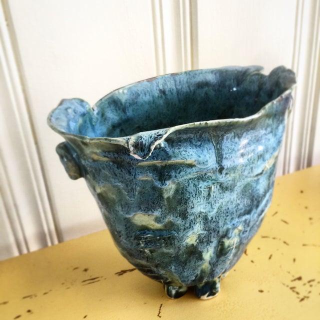 Image of Teal Blue Handmade Pottery Vase