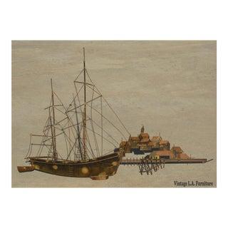 Vintage Curtis Jere Metal Sculpture Ship Boat