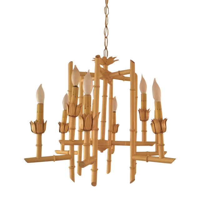 Vintage Yellow Faux Bamboo Chandelier - Image 1 of 3