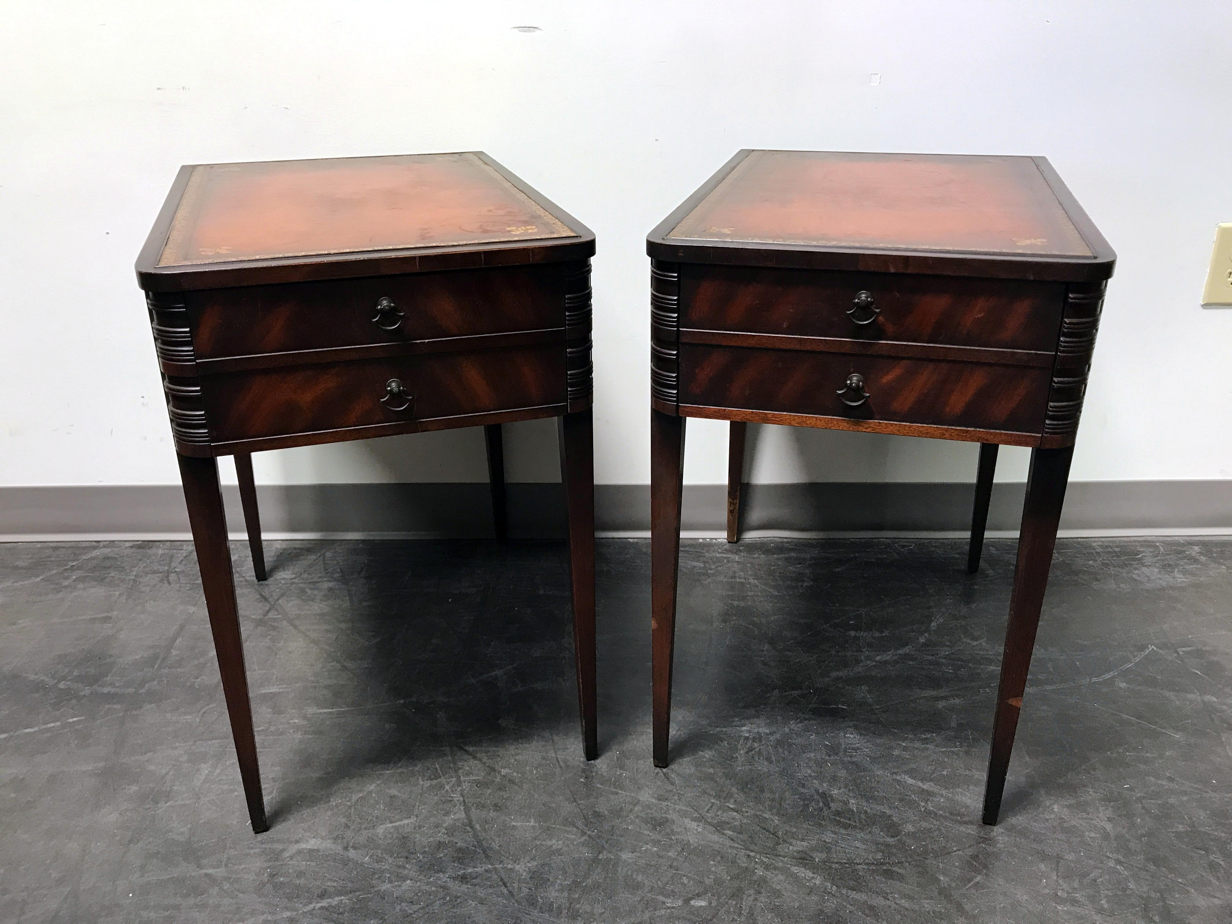 Vintage Leather Top Mahogany End Tables  A Pair   Image 2 Of 11