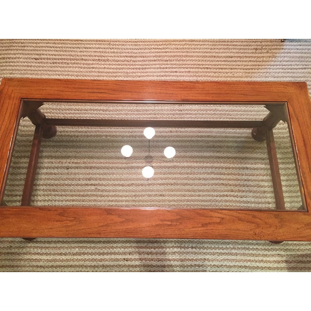 Image of Traditional Wood & Glass Coffee Table