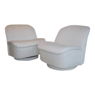 Directional White Swivel Chairs - A Pair