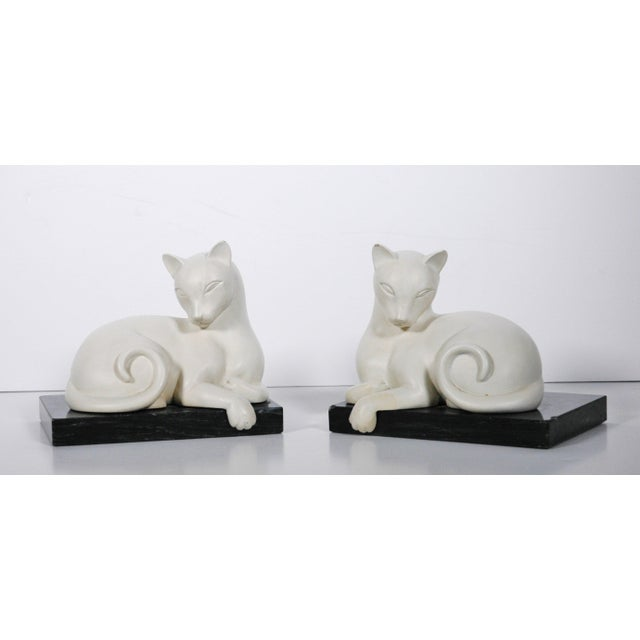 Art Deco White Alabaster Cat Bookends - Image 2 of 5