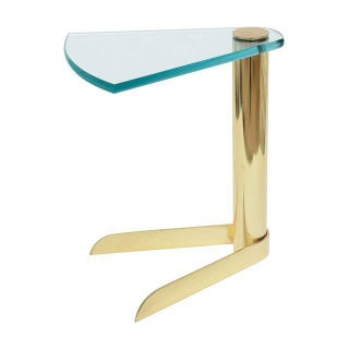 Pace Sculptural Brass & Glass Wedge Side Table