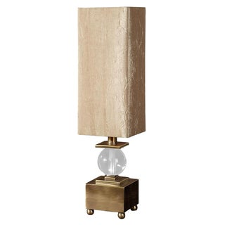 Brushed Brass & Crystal Ball Lamp