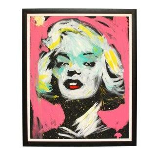 Large Signed Original Framed Painting Marilyn