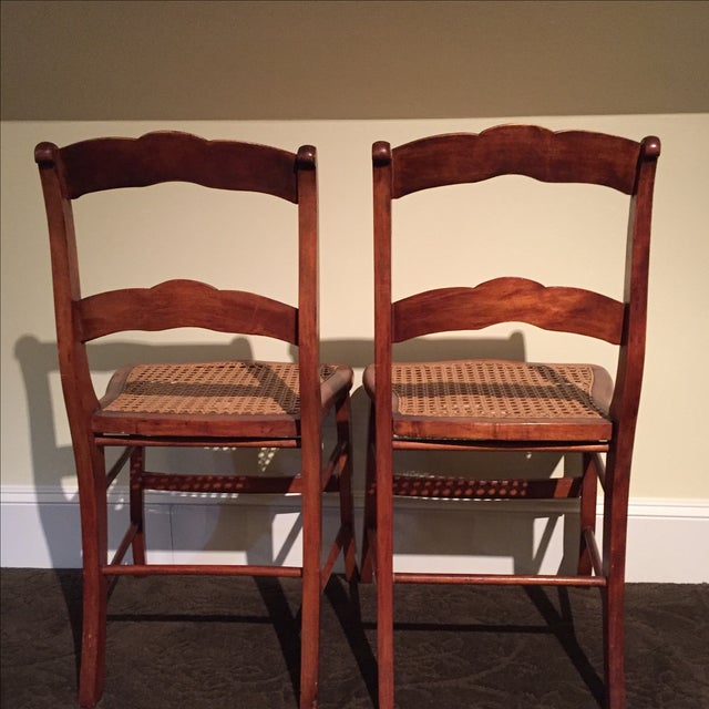Antique Tiger Maple Chairs - Image 5 of 6