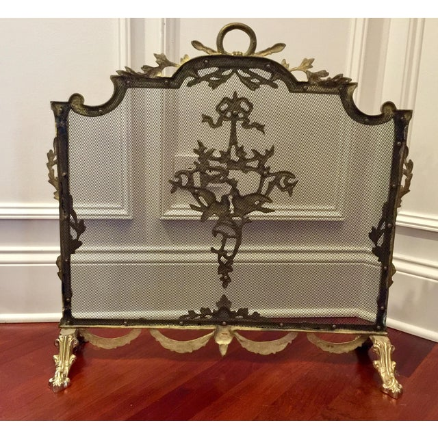 Louis XVI Style Brass Fireplace Screen - Image 4 of 10
