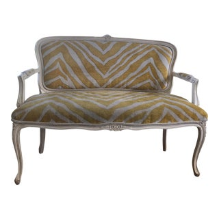 Vintage Louis XV Style Yellow Zebra Print Upholstered Settee