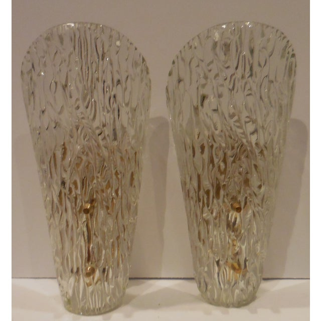 Vintage Textured Glass Sconces - Pair - Image 9 of 11