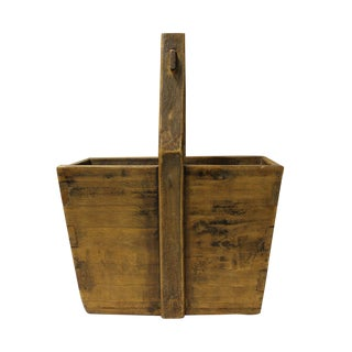 Vintage Chinese Rectangular Plain Natural Wood Color Food Bucket