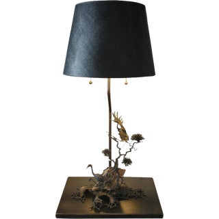 Sculptural Bronze and Mineral Stone Table Lamp
