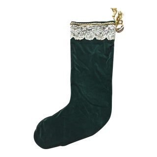 Antique Velvet/Lace Christmas Stocking-21""