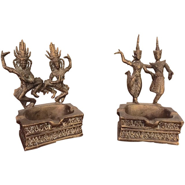 Brass Thai Asian Dancing Ganesh Ashtrays - A Pair - Image 1 of 7