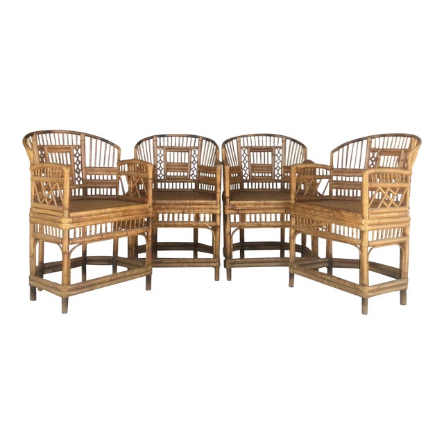Vintage Brighton Style Rattan Chairs- Set of 4 - Image 1 of 9