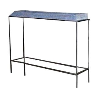 Mecox Garden Chrome & Leather Console Table