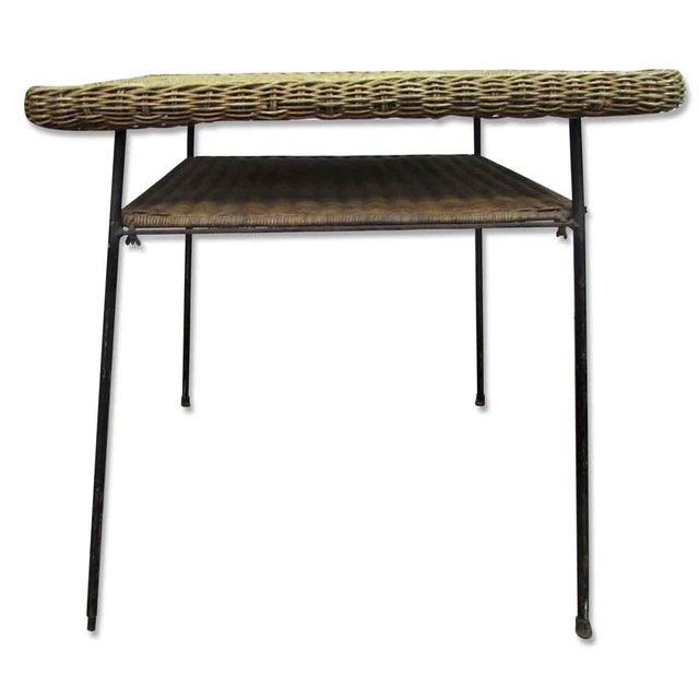 Antique Wicker Desk With Metal Legs - Image 2 of 8 - Antique Wicker Desk With Metal Legs Chairish