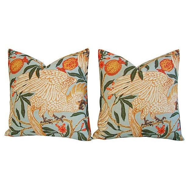 Tropical Parrot & Pomegranate Feather/Down Pillows - a Pair - Image 7 of 7