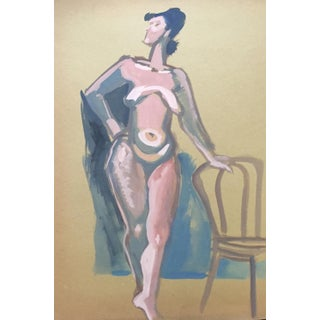 Vintage Figurative Standing Nude Painting
