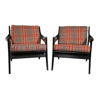 Danish Plaid & Ebonized Armchairs - A Pair