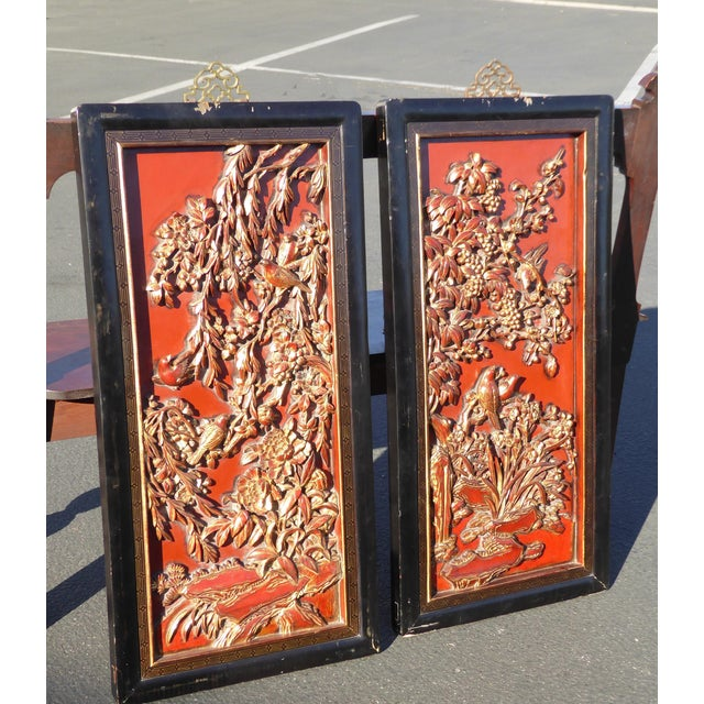 Vintage Asian Red & Gold Gilt Floral Carved Wall Panels- A Pair - Image 3 of 11