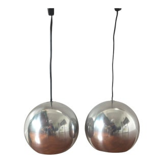 Mid-Century Pendant Orb Lights - a Pair