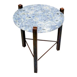 Blue Granite & Solid Bronze Side Table