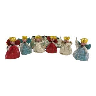 Vintage Spun Cotton Angel Christmas Ornaments - Set of 6