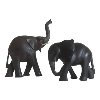 Vintage African Hand Carved Ebony Elephant Figurines - A Pair