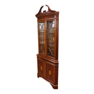 Banded Mahogany English Reproduction Federal Style Corner Cabinet Cupboard c1990