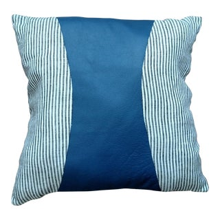 Blue Stripe Leather Pillow