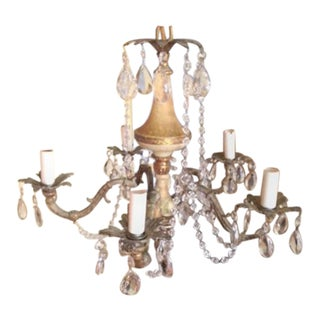 Vintage 60s Metal & Crystal Chandelier