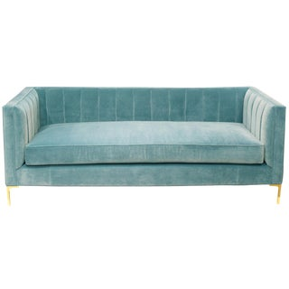 Mid-Century Velvet Sofa with Brass Legs