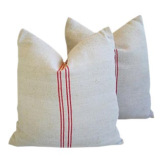 "Custom Tailored European Homespun Textile Feather/Down Pillows 22"" Square - Pair"