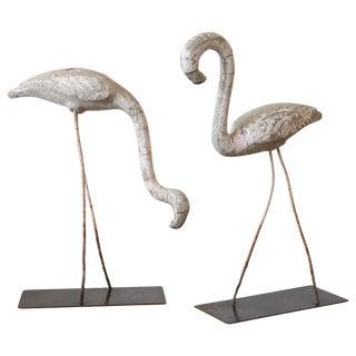 Pair of Decorative Flamingo Sculptures
