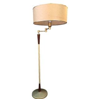 Mid-Century Gold & Wood Floor Lamp