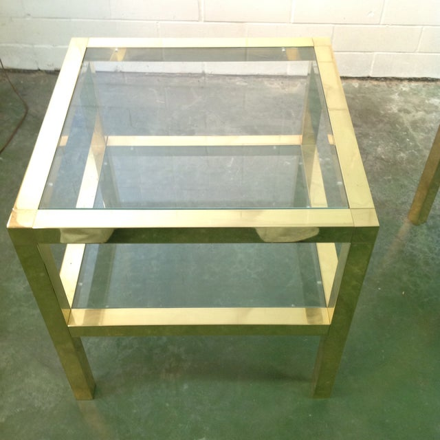 Image of Mastercraft Brass & Glass Bedside Tables - A Pair