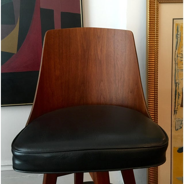 Mid-Century Walnut Bentwood, Leather Swivel Barstools - A Pair - Image 5 of 5