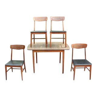 Mid-Century Modern Dining Table & Chairs - Set of 4