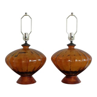 Mid-Century Modern Amber Art Glass Lamps - a Pair
