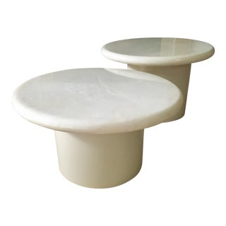 Vintage Mushroom Marble Top Coffee Tables - a Pair