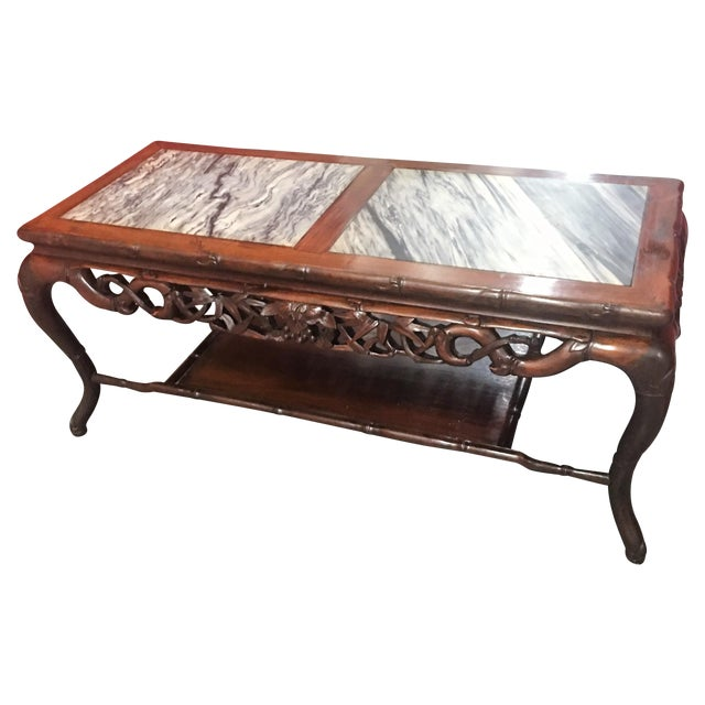 asian ornate carved coffee table w marble top chairish. Black Bedroom Furniture Sets. Home Design Ideas